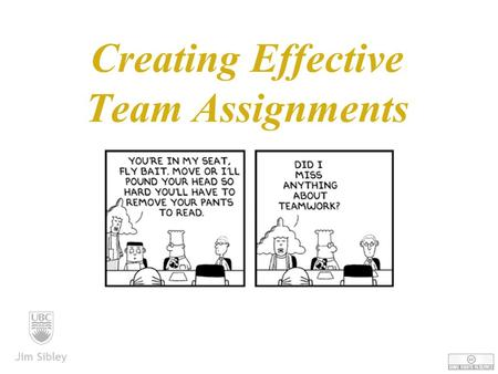 Creating Effective Team Assignments Jim Sibley. Know Where You Want To Go Jim Sibley.
