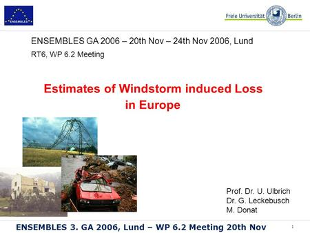 1 ENSEMBLES 3. GA 2006, Lund – WP 6.2 Meeting 20th Nov RT6, WP 6.2 Meeting Estimates of Windstorm induced Loss in Europe ENSEMBLES GA 2006 – 20th Nov –