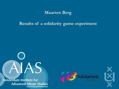 Maarten Berg Results of a solidarity game experiment.