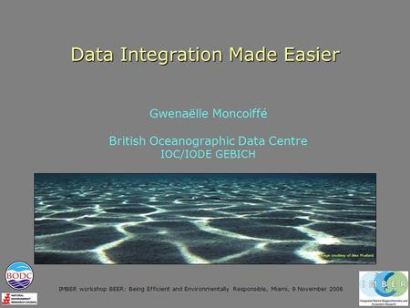 IMBER workshop BEER: Being Efficient and Environmentally Responsible, Miami, 9 November 2008 Data Integration Made Easier Gwenaëlle Moncoiffé British Oceanographic.