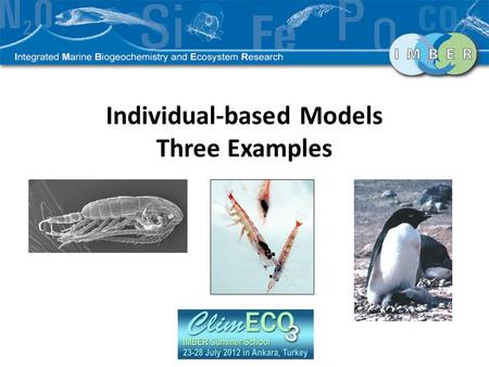Individual-based Models Three Examples. Presentation Outline Individual based models Approach Model Structure Limitations Three examples – Calanus finmarchicus.