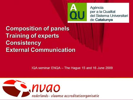 Composition of panels Training of experts Consistency External Communication IQA seminar ENQA – The Hague 15 and 16 June 2009.
