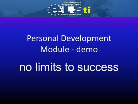 Personal Development Module - demo no limits to success.