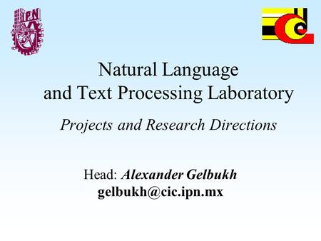 Natural Language and Text Processing Laboratory Projects and Research Directions Head: Alexander Gelbukh