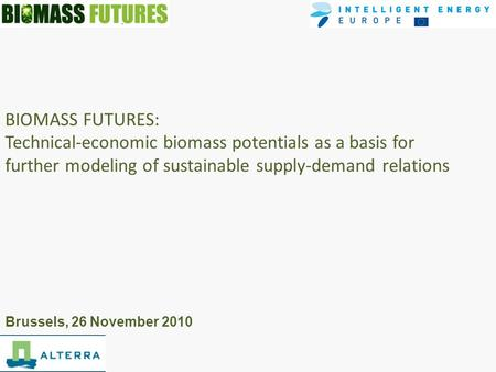 BIOMASS FUTURES: Technical-economic biomass potentials as a basis for further modeling of sustainable supply-demand relations Brussels, 26 November 2010.