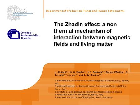 The Zhadin effect: a non thermal mechanism of interaction between magnetic fields and living matter Department of Production Plants and Human Settlements.