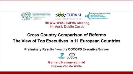 Cross Country Comparison of Reforms The View of Top Executives in 11 European Countries Preliminary Results from the COCOPS Executive Survey Gerhard Hammerschmid.