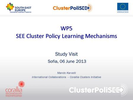 WP5 SEE Cluster Policy Learning MechanismsSEE Cluster Policy Learning Mechanisms Study Visit Sofia, 06 June 2013 Mando Karvelli International Collaborations.