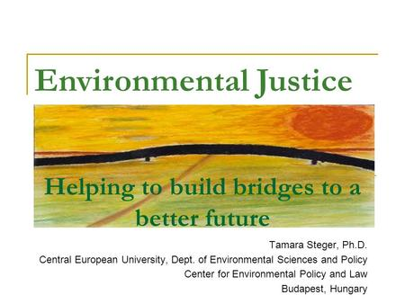 Helping to build bridges to a better future Tamara Steger, Ph.D. Central European University, Dept. of Environmental Sciences and Policy Center for Environmental.