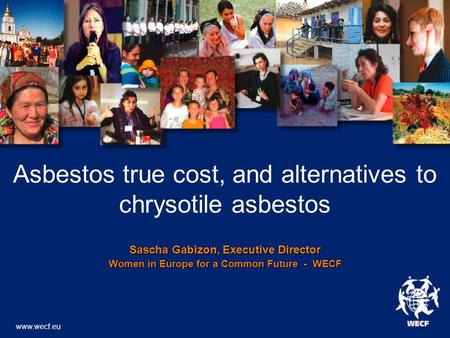 Asbestos true cost, and alternatives to chrysotile asbestos Sascha Gabizon, Executive Director Women in Europe for a Common Future - WECF www.wecf.eu.