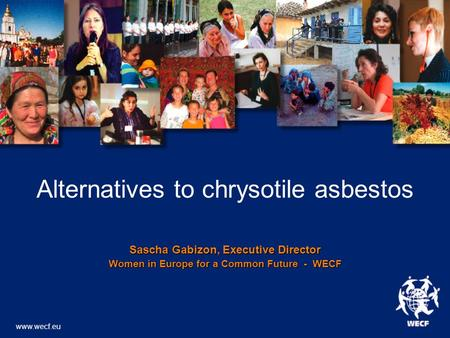 Alternatives to chrysotile asbestos Sascha Gabizon, Executive Director Women in Europe for a Common Future - WECF www.wecf.eu.