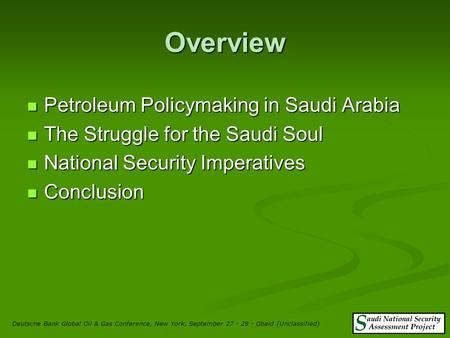 Oil, Power and Security in Saudi Arabia by Nawaf Obaid.