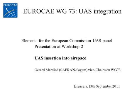 EUROCAE WG 73: UAS integration Elements for the European Commission UAS panel Presentation at Workshop 2 UAS insertion into airspace Gérard Mardiné (SAFRAN-Sagem)