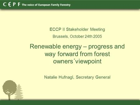 ECCP II Stakeholder Meeting Brussels, October 24th 2005 Renewable energy – progress and way forward from forest owners´viewpoint Natalie Hufnagl, Secretary.