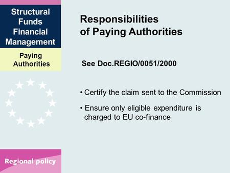 Paying Authorities Structural Funds Financial Management Responsibilities of Paying Authorities See Doc.REGIO/0051/2000 Certify the claim sent to the Commission.