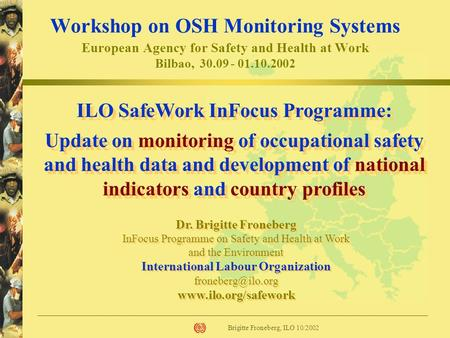 Brigitte Froneberg, ILO 10/2002 Dr. Brigitte Froneberg InFocus Programme on Safety and Health at Work and the Environment International Labour Organization.