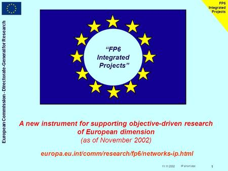 11.11.2002 European Commission - Directorate-General for Research IP short.doc 1 FP6 Integrated Projects FP6 Integrated Projects A new instrument for supporting.
