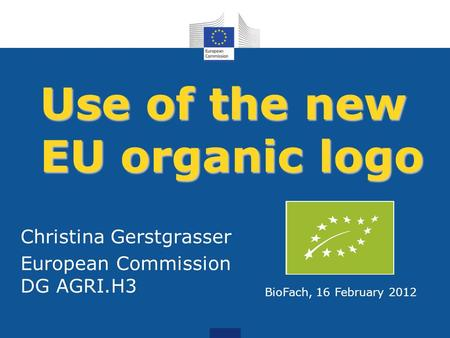 Use of the new EU organic logo