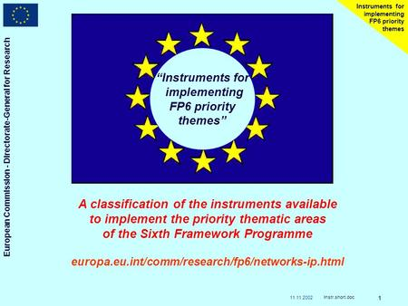 11.11.2002 European Commission - Directorate-General for Research Instr.short.doc 1 Instruments for implementing FP6 priority themes Instruments for implementing.