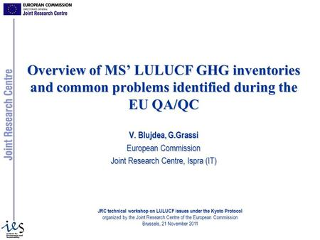 Overview of MS LULUCF GHG inventories and common problems identified during the EU QA/QC V. Blujdea, G.Grassi European Commission Joint Research Centre,