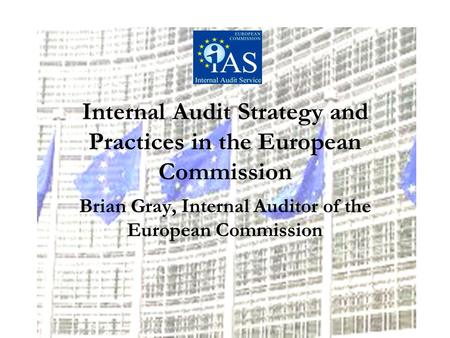 Internal Audit Strategy and Practices in the European Commission Brian Gray, Internal Auditor of the European Commission.