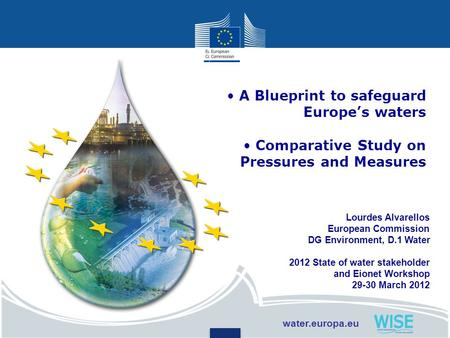 Lourdes Alvarellos European Commission DG Environment, D.1 Water 2012 State of water stakeholder and Eionet Workshop 29-30 March 2012 A Blueprint to safeguard.