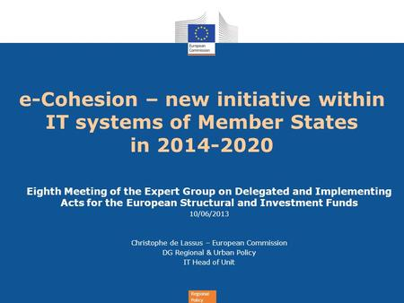 e-Cohesion – new initiative within IT systems of Member States  in