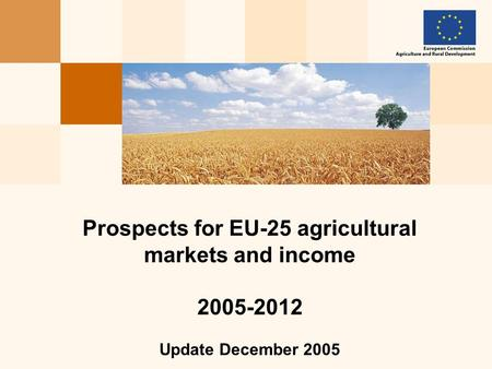 Prospects for EU-25 agricultural markets and income 2005-2012 Update December 2005.