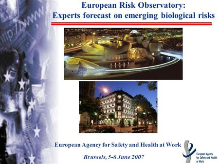 European Risk Observatory: Experts forecast on emerging biological risks European Agency for Safety and Health at Work Brussels, 5-6 June 2007.