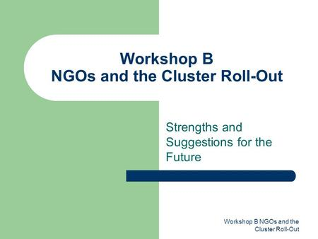 Workshop B NGOs and the Cluster Roll-Out Strengths and Suggestions for the Future.