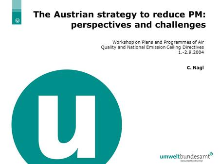 20.4.2004 | Folie 1 The Austrian strategy to reduce PM: perspectives and challenges Workshop on Plans and Programmes of Air Quality and National Emission.