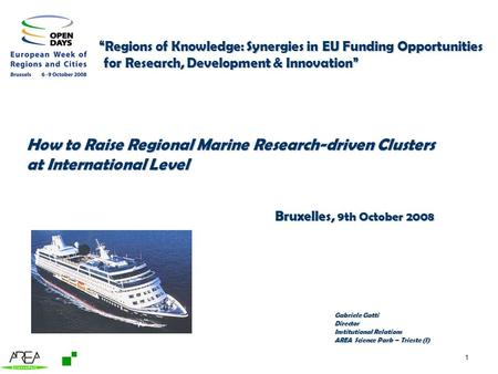 1 Regions of Knowledge: Synergies in EU Funding Opportunities Regions of Knowledge: Synergies in EU Funding Opportunities for Research, Development & Innovation.