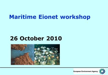 Maritime Eionet workshop 26 October 2010. 2 New EU policy context: Ecosystem based management Thematic Strategy for the Protection and Conservation of.
