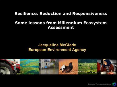 European Environment Agency Resilience, Reduction and Responsiveness Some lessons from Millennium Ecosystem Assessment Jacqueline McGlade European Environment.