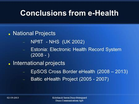 Conclusions from e-Health