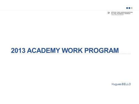 2013 ACADEMY WORK PROGRAM Hugues BELLO.
