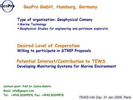 GeoPro GmbH, Hamburg, Germany