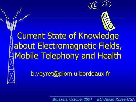 Brussels, October 2001 EU-Japan-Korea-USA Current State of Knowledge about Electromagnetic Fields, Mobile Telephony and Health
