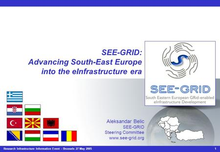 Research Infrastructure Information Event – Brussels 27 May 2005 1 SEE-GRID: Advancing South-East Europe into the eInfrastructure era Aleksandar Belic.