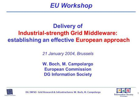 DG INFSO- Grid Research & Infrastructures: W. Boch, M. Campolargo 1 Delivery of Industrial-strength Grid Middleware: establishing an effective European.