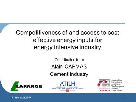 131th March 2006 Competitiveness of and access to cost effective energy inputs for energy intensive industry Contribution from Alain CAPMAS Cement industry.