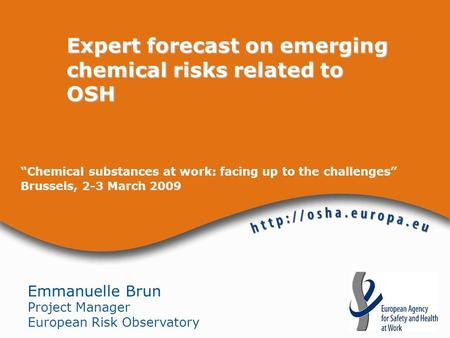 Chemical substances at work: facing up to the challenges Brussels, 2-3 March 2009 Expert forecast on emerging chemical risks related to OSH Emmanuelle.