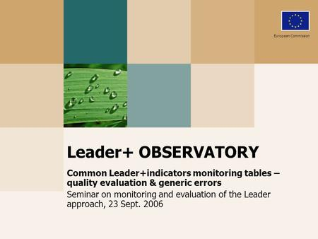 Leader+ OBSERVATORY Common Leader+indicators monitoring tables – quality evaluation & generic errors Seminar on monitoring and evaluation of the Leader.