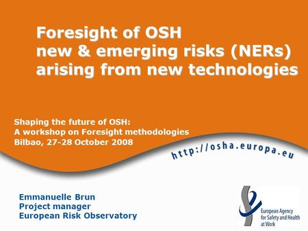 Shaping the future of OSH: A workshop on Foresight methodologies Bilbao, 27-28 October 2008 Foresight of OSH new & emerging risks (NERs) arising from new.