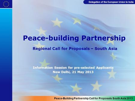 Delegation of the European Union to India Peace-building Partnership Regional Call for Proposals – South Asia Information Session for pre-selected Applicants.