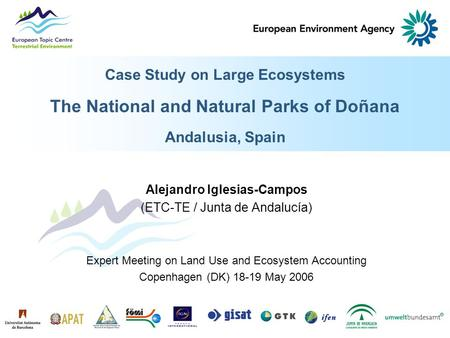 Case Study on Large Ecosystems The National and Natural Parks of Doñana Andalusia, Spain Alejandro Iglesias-Campos (ETC-TE / Junta de Andalucía) Expert.