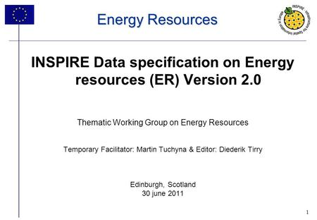 1 Energy Resources INSPIRE Data specification on Energy resources (ER) Version 2.0 Thematic Working Group on Energy Resources Temporary Facilitator: Martin.