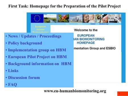 1 First Task: Homepage for the Preparation of the Pilot Project www.eu-humanbiomonitoring.org News / Updates / Proceedings Policy background Implementation.