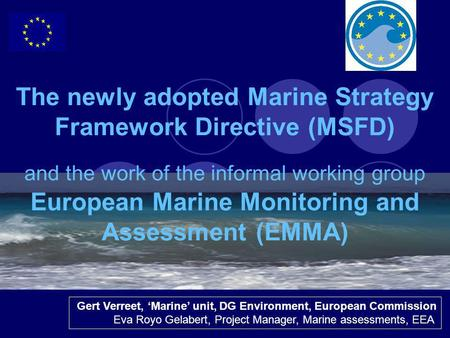 1 The newly adopted Marine Strategy Framework Directive (MSFD) and the work of the informal working group European Marine Monitoring and Assessment (EMMA)