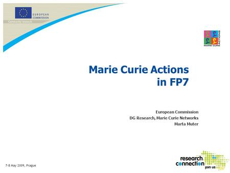 7-8 May 2009, Prague Marie Curie Actions in FP7 European Commission DG Research, Marie Curie Networks Marta Muter.